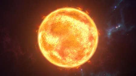 태양이 우주 장면에서 행성 굽기. 3D 렌더링 스톡 콘텐츠 - 76935376