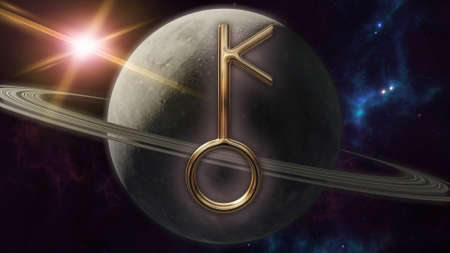 Chiron zodiac horoscope symbol and planet. 3D rendering