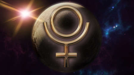 Pluto zodiac horoscope symbol and planet. 3D rendering