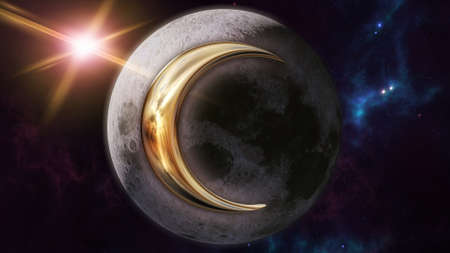 Moon zodiac horoscope symbol and planet. 3D rendering Banco de Imagens