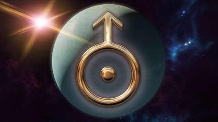 Uranus zodiac horoscope symbol and planet. 3D rendering
