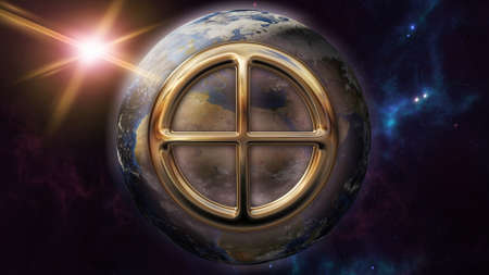 metaphysics: Earth zodiac horoscope symbol and planet. 3D rendering