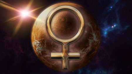 Venus zodiac horoscope symbol and planet. 3D rendering