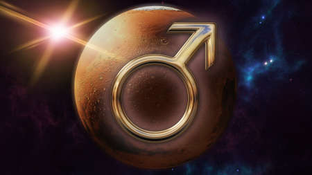 Mars zodiac horoscope symbol and planet. 3D rendering