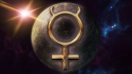 Mercury zodiac horoscope symbol and planet. 3D rendering