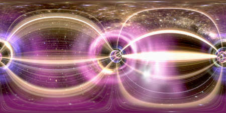 Spherical 360 degrees, seamless panorama wormhole cosmic futuristic tunnel. 3D rendering