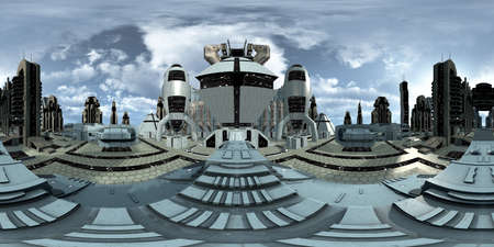 Spherical 360 degrees, seamless panorama or a futuristic discovered city. 3D rendering Standard-Bild