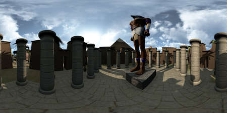 Spherical 360 degrees, seamless panorama of ancient Egypt archtecture temple and Horus. 3D rendering 스톡 콘텐츠