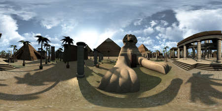 Spherical 360 degrees, seamless panorama of ancient Egypt archtecture Sphinx and pyramids. 3D rendering