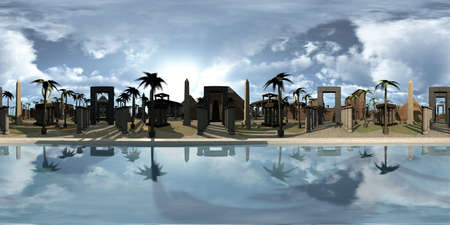 Spherical 360 degrees, seamless panorama of ancient Egypt archtecture on the edge of the Nile. 3D rendering