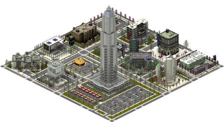 Isometric city buildings, modern cityscape. 3D rendering
