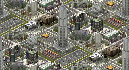 Isometric city buildings, modern urbanscape. 3D rendering Banco de Imagens