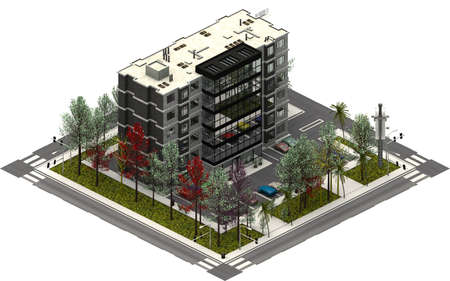 Isometric city buildings, parking lot with office company. 3D rendering Standard-Bild