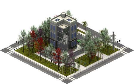 Isometric city buildings, modern tower. 3D rendering