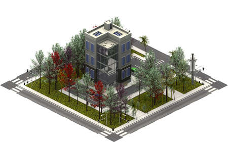 Isometric city buildings, modern tower. 3D rendering