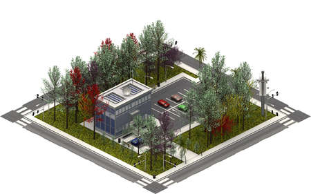 Isometric city buildings, modern building. 3D rendering Banco de Imagens
