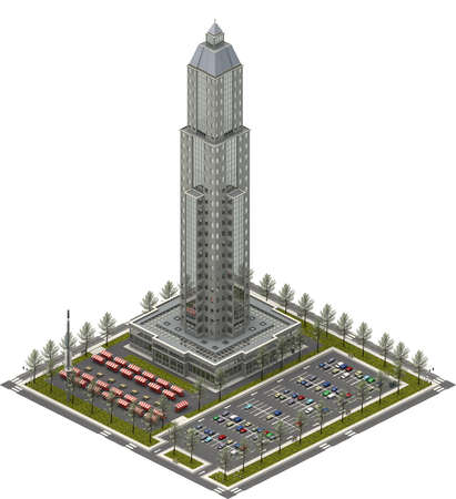 Isometric city buildings, skyscraper tower and parking lot. 3D rendering