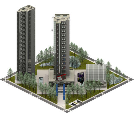 Isometric city buildings, modern architecture. 3D rendering