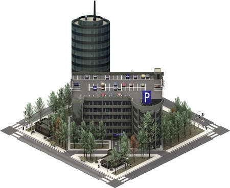Isometric city buildings, parking lot with skyscraper. 3D rendering