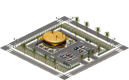 Isometric city buildings, parking lot with fast food restaurant. 3D rendering 스톡 콘텐츠