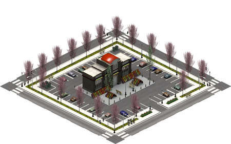 Isometric city buildings, parking lot with supermarket. 3D rendering