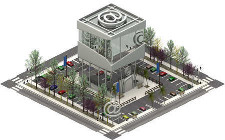 Isometric city buildings, parking lot with IT computer company. 3D rendering
