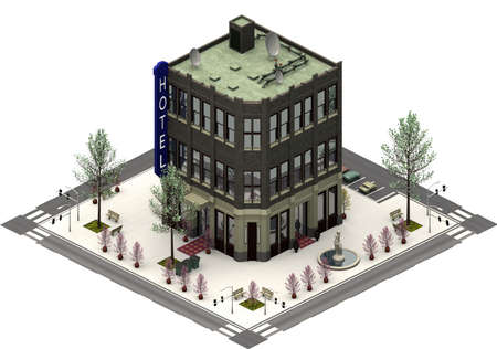 Isometric city buildings, luxury hotel. 3D rendering Banco de Imagens
