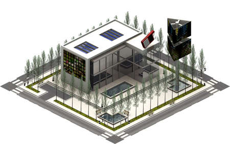 Isometric city buildings, tv film company. 3D rendering