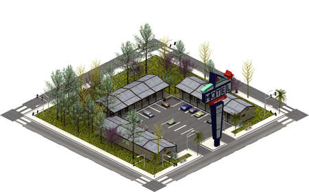 Isometric city buildings, Drive in motel. 3D rendering