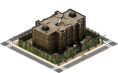 Isometric city buildings, prison jail. 3D rendering