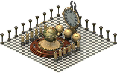 Isometric architecture, time machine. 3D rendering