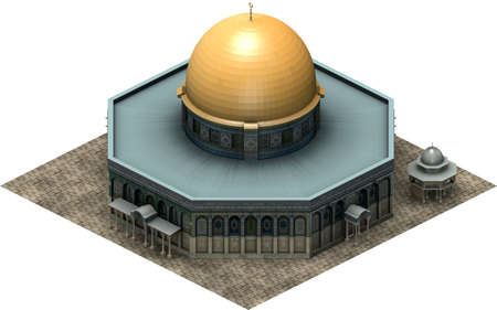 Isometric architecture, dome of the rock Jerusalem. 3D rendering 스톡 콘텐츠