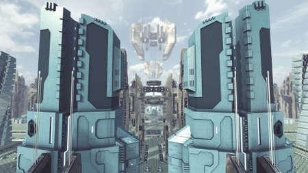 Take off from a futuristic scifi city. 3D rendering Standard-Bild