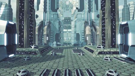 Great futuristic scifi city. 3D rendering