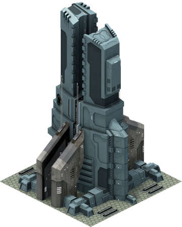 Isometric futuristic sci-fi architecture, futuristic base. 3D rendering Banco de Imagens - 103837234