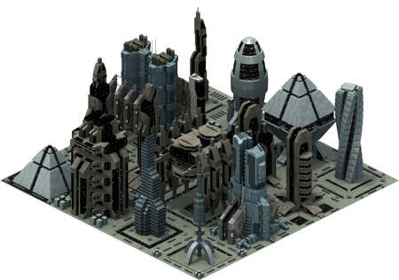 Isometric futuristic sci-fi architecture, city buildings of the future. 3D rendering
