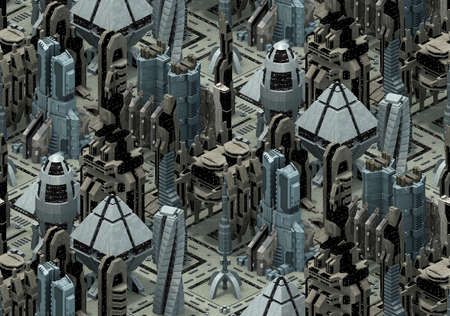 Isometric futuristic sci-fi architecture, city of the future. 3D rendering