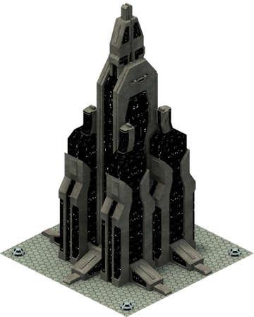 Isometric futuristic sci-fi architecture, future building. 3D rendering Standard-Bild