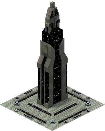Isometric futuristic sci-fi architecture, future tower. 3D rendering