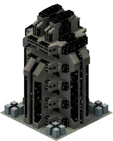 Isometric futuristic sci-fi architecture, space building. 3D rendering