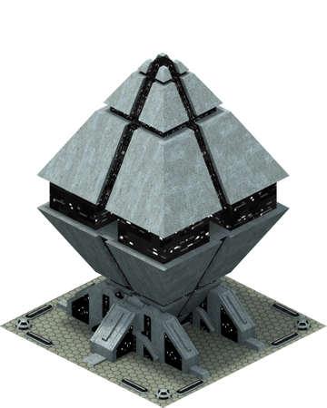 Isometric futuristic sci-fi architecture, future city building. 3D rendering