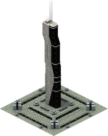 Isometric futuristic sci-fi architecture, modern tower. 3D rendering