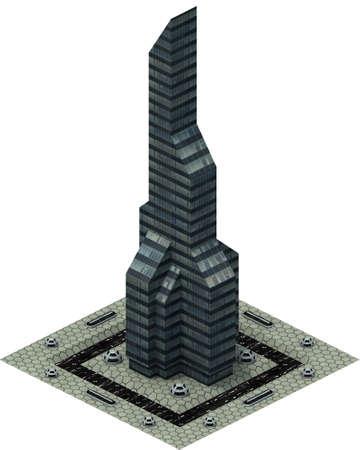 Isometric futuristic sci-fi architecture, modern skyscraper. 3D rendering