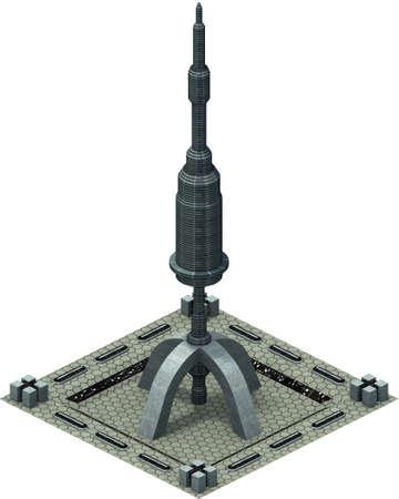 Isometric futuristic sci-fi architecture, satellite antenna. 3D rendering