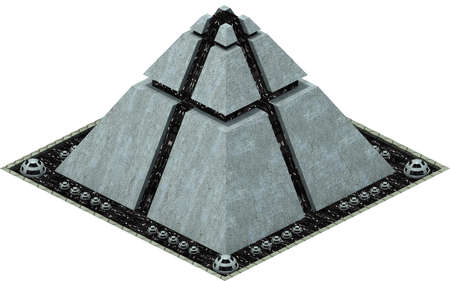 Isometric futuristic sci-fi architecture, futuristic pyramid. 3D rendering Standard-Bild