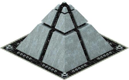 Isometric futuristic sci-fi architecture, futuristic pyramid. 3D rendering Banco de Imagens - 103839310