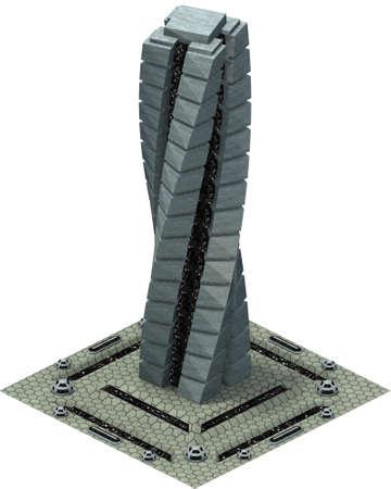 Isometric futuristic sci-fi architecture, future skyscraper. 3D rendering 스톡 콘텐츠