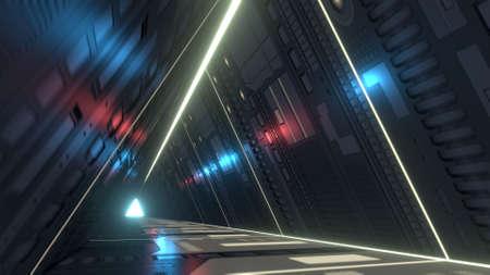Sci-fi corridor with infra-red and ultraviolet lights. 3D rendering Standard-Bild