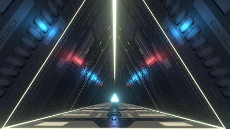 Futuristic triangle corridor with infra-red and ultraviolet lights. 3D rendering Banco de Imagens