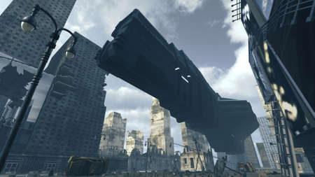 Futuristic cargo spaceship landing in apocalyptic city. 3D rendering Banco de Imagens - 103839320